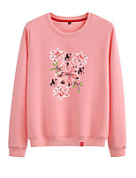 cheap -Women's Sweatshirt Pullover Sweatshirts Black White Pink Cartoon Crew Neck Cute Flower Sport Athleisure Pullover Long Sleeve Warm Soft Comfortable Everyday Use Causal Exercising General Use