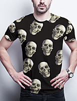 cheap -Men's Daily Plus Size T-shirt Graphic Skull Print Short Sleeve Tops Basic Round Neck Black