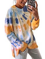 cheap -Women's T-shirt Tie Dye Long Sleeve Print Round Neck Tops Loose Basic Basic Top Blue Red Yellow