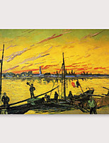 cheap -IARTS Hand Painted sunrise Oil Painting with Stretched Frame For Home Decoration With Stretched Frame