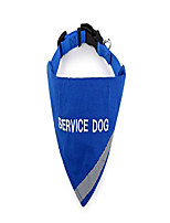 "cheap -service dog bandana with reflective strip for pet safety at night. has built in matching collar to keep bandana secure | metal ring to attach leash | blue medium (neck 14-20"")"