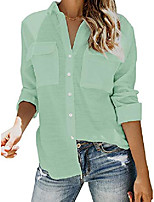 cheap -womens button down v neck shirts long sleeve blouse roll up cuffed sleeve casual work plain tops with pockets & #40;large, green& #41;
