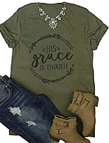 cheap -his grace is enough shirt women& #39;s christian t-shirt o-neck letter print jesus tees top size s & #40;army green& #41;