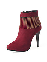 cheap -Women's Boots Stiletto Heel Pointed Toe Classic Daily Solid Colored Nubuck Booties / Ankle Boots Black / Burgundy / Khaki
