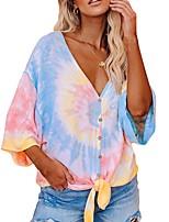 cheap -Women's Blouse Tie Dye Print V Neck Tops Batwing Sleeve Loose Basic Basic Top Blue Purple Fuchsia