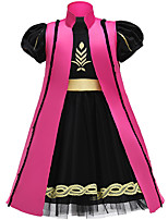 cheap -Anna Dress Girls' Movie Cosplay Vacation Dress Halloween Black Dress Shawl Christmas Halloween Carnival Polyester / Cotton