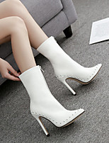 cheap -Women's Boots Stiletto Heel Pointed Toe Classic Daily Rivet Solid Colored PU Booties / Ankle Boots White / Black