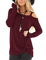 cheap -women's cold shoulder shirt long sleeve knot front tunic tops (red, small)