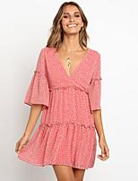 cheap -Women's Shift Dress Short Mini Dress - Half Sleeve Polka Dot Print Summer V Neck Casual Daily 2020 Blue Blushing Pink S M L XL