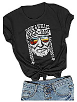 cheap -have a willie nice day t shirt womens short sleeve willie nelson inspired tees vacation shirt tops size m & #40;black& #41;
