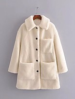 cheap -Women's Single Breasted Winter Teddy Coat Regular Solid Colored Daily Basic Oversized Beige S M L