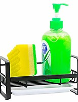 cheap -sponge holder with drain pan - kitchen sink organizer - sink caddy holder - sink tray - soap holder - sus304 stainless steel (black)