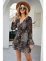 cheap -Women's A-Line Dress Short Mini Dress - Long Sleeve Leopard Print Summer V Neck Casual Daily 2020 Brown S M L XL