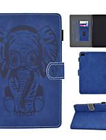 cheap -Case For Apple iPad Mini 3 2 1 iPad Mini 4 iPad Mini 5 Card Holder  Shockproof  Flip Full Body Cases Animal PU Leather  TPU elephant pattern