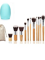 cheap -makeup brushes set kabuki bamboo handle 12 pieces soft synthetic foundation blending blush eye face liquid powder cream cosmetics brush with travel pouch bag and washing cleaner sponge blender