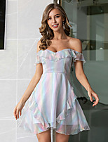 cheap -Women's A-Line Dress Short Mini Dress - Short Sleeve Solid Color Sequins Ruffle Patchwork Summer Off Shoulder Casual Slim 2020 Blushing Pink Rainbow S M L
