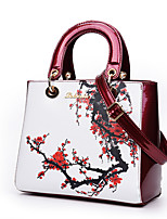 cheap -Women's Bags PU Leather Top Handle Bag Pattern / Print Zipper for Daily / Date White / Black / Purple / Red
