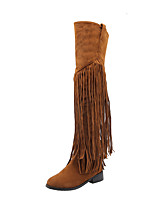 cheap -Women's Boots Flat Heel Round Toe Casual Basic Party & Evening Outdoor Tassel Solid Colored Suede Over The Knee Boots Walking Shoes Almond / Black / Yellow