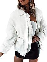 cheap -women faux fleece jacket,lapel zipper shaggy shearling fuzzy coat warm winter oversized outwear with pockets (white,xxl)