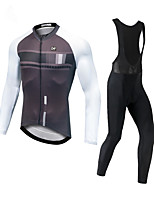 cheap -CAWANFLY Men's Long Sleeve Cycling Jersey with Bib Tights Black / White Bike Moisture Wicking Sports Mountain Bike MTB Road Bike Cycling Clothing Apparel / Expert / Racing / Stretchy / Athletic