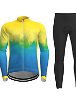 cheap -21Grams Men's Women's Long Sleeve Cycling Jersey with Tights Winter Polyester Blue+Yellow Green Novelty Bike Jersey Tights Clothing Suit Breathable Quick Dry Moisture Wicking Back Pocket Sports