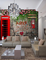 cheap -Wall Cloth Room Wallcovering Custom Self Adhesive Mural Wallpaper Red Mailbox Suitable For Bedroom Living Room Cafe Restaurant Hotel Wall Decoration Art