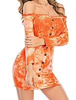 cheap -Women's Sheath Dress Knee Length Dress - Long Sleeve Tie Dye Summer Fall Sexy 2020 Orange S M L XL XXL