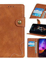 cheap -Case For Alcatel Alcatel 1 / Alcatel 1S 2019 / Alcatel 3L Flip / Magnetic Full Body Cases Solid Colored PU Leather