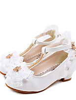 cheap -Girls' Heels Flower Girl Shoes PU Glitter Crystal Sequined Jeweled Little Kids(4-7ys) / Big Kids(7years +) Walking Shoes Rhinestone / Bowknot White / Pink Spring / Summer / Party & Evening