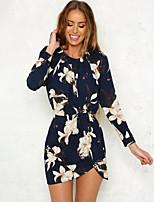 cheap -Women's A-Line Dress Short Mini Dress - Long Sleeve Print Ruched Print Fall Casual Daily 2020 Blue S M L XL