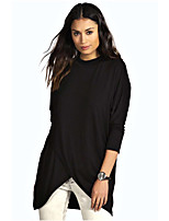 cheap -Women's Blouse Shirt Solid Colored Long Sleeve Layered Patchwork Round Neck Tops Basic Basic Top Black Dark Gray