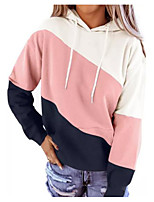 cheap -Women's Daily Pullover Hoodie Sweatshirt Color Block Casual Hoodies Sweatshirts  Loose Black Blushing Pink Orange