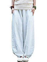 cheap -women's linen wide leg pants loose fit bloomers trousers with elastic waist style3 white m