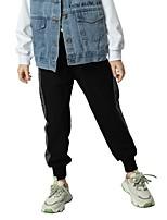 cheap -Kids Girls' Basic Black & Gray Color Block Pants Black
