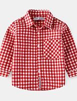 cheap -Kids Boys' Basic Plaid Long Sleeve Shirt Wine