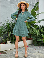cheap -Women's A-Line Dress Short Mini Dress - Long Sleeve Print Patchwork Print Fall V Neck Casual 2020 Green S M L XL