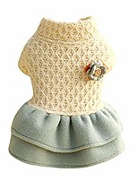 cheap -dog apparel,puppy dress, cute pearl flower princess dog dress for small dogs girl for winter,dog clothes,dress dog costume,pet coats,dog girl dress & #40;xs, white& #41;