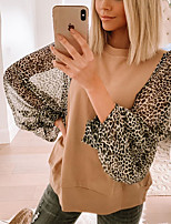 cheap -Women's Blouse Shirt Leopard Cheetah Print Long Sleeve Patchwork Round Neck Tops Lantern Sleeve Basic Basic Top Khaki