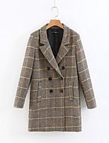 cheap -Women's Winter Coat Regular Plaid Daily Brown S M L