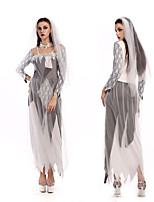 cheap -Ghostly Bride Dress Cosplay Costume Outfits Adults' Women's Cosplay Halloween Halloween Festival / Holiday Tulle Polyester Gray Women's Easy Carnival Costumes / Headpiece / Tanga / Neckwear / Tanga