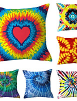 cheap -Set Of 6 Linen Cushion Cover Watercolor Simple Creative Tie-dye Pillow Cover For Home Chair Sofa Decorative Pillow Cases 45x45 Cm