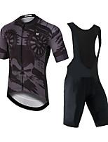 cheap -CAWANFLY Men's Short Sleeve Cycling Padded Shorts Cycling Jersey with Bib Shorts Black Bike Moisture Wicking Sports Mountain Bike MTB Road Bike Cycling Clothing Apparel / Expert / Racing / Stretchy