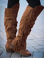 cheap -Women's Boots Wedge Heel Round Toe Sweet Daily Tassel Solid Colored Nubuck Knee High Boots Walking Shoes Dark Brown / Khaki / Brown