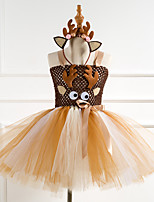 cheap -Reindeer Dress Costume Girls' Movie Cosplay Tutus Plaited Vacation Dress Brown Dress Headwear Christmas Halloween Carnival Polyester / Cotton Polyester