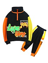 cheap -Kids Boys' Basic Color Block Long Sleeve Regular Clothing Set Black