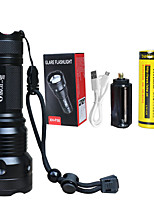 cheap -LED Flashlights / Torch Waterproof Zoomable LED 1 Emitters 5 Mode with Batteries with Battery and USB Cable Waterproof Zoomable Portable Professional High-power Camping / Hiking / Caving Everyday Use