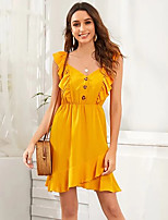cheap -Women's A-Line Dress Knee Length Dress - Short Sleeve Solid Color Ruffle Patchwork Summer Casual Slim 2020 Yellow S M L XL