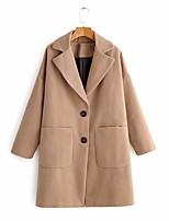 cheap -Women's Fall & Winter Coat Long Solid Colored Daily Basic Khaki S M L