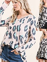 cheap -Women's Basic Knitted Leopard Cheetah Print Pullover Long Sleeve Loose Sweater Cardigans Crew Neck Round Neck Fall Blushing Pink Gray