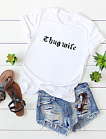 cheap -Women's T-shirt Letter Print Round Neck Tops 100% Cotton Basic Basic Top White Blue Yellow